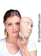 kvinna, mask.