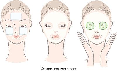 kvinna, maskera, ansikte, vacker