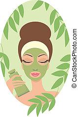 kvinna, maskera, ansiktsbehandling