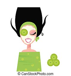 kvinna, maskera, gurka, wellness, ansiktsbehandling, grön, &