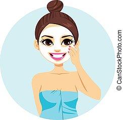 kvinna, maskera, latina, ansiktsbehandling