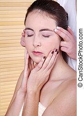 kvinna, massera