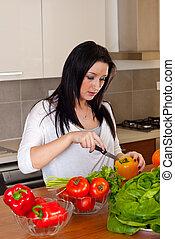 kvinna, matlagning, kök