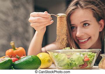 kvinna, matlagning, kök, ung