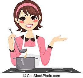 kvinna, matlagning, lycklig