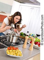 kvinna, matlagning, -, nymodig, ung, kök