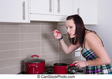 kvinna, matlagning, ung, kök
