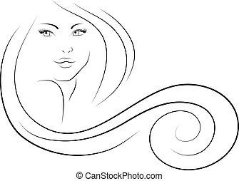 kvinna, md yvigt hår på huvudet