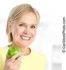 kvinna, med, äpple