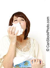 kvinna, med, a, allergi
