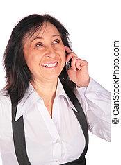kvinna, med, a, mobiltelefon