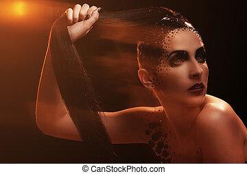 kvinna, med, artistisk, smink