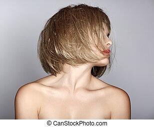 kvinna, med, blond, guppa