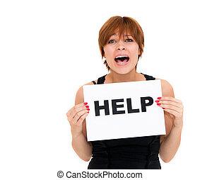 kvinna, med, bord, hjälp