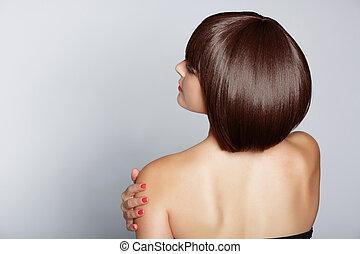 kvinna, med, brunett, guppa