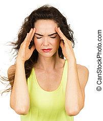 kvinna, med, dålig, huvudvärk