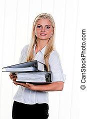 kvinna, med, dokumentsamling mapp