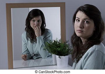 kvinna, med, emotionell, problem