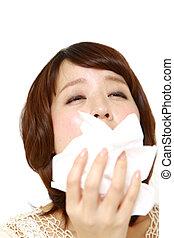 kvinna, med, en, allergi