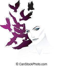 kvinna, med, fågel