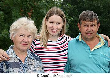 kvinna, med, föräldrar