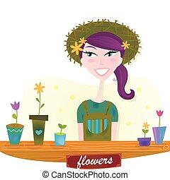 kvinna, med, fjäder, trädgård, blomningen
