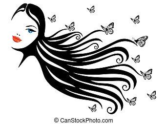 kvinna, med, fjäril