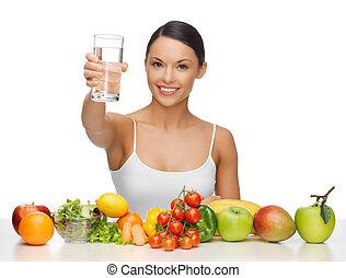 kvinna, med, frisk mat