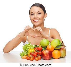 kvinna, med, frukter och vegetables