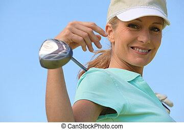 kvinna, med, golfklubb, och, hjälmgaller