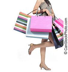 kvinna, med, handling väska
