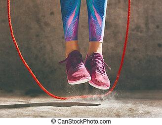 kvinna, med, hopanden, rope.