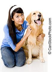 kvinna, med, hund