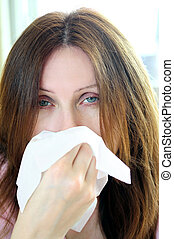 kvinna, med, influensa, eller, allergi