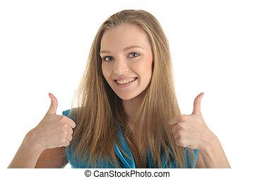 kvinna, med, kategorien, på, tänder