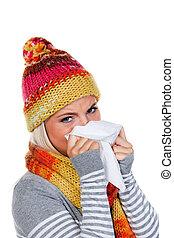 kvinna, med, kylor, och, influensa