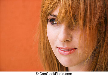 kvinna, med, mischievious, uttryck