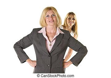 kvinna, med, mycket, liten affärsverksamhet, lag, 3