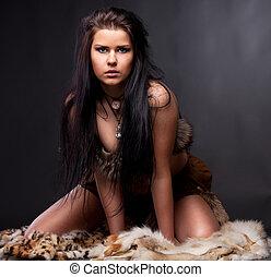 kvinna, med, pälsfodra