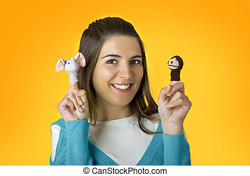 kvinna, med, puppets
