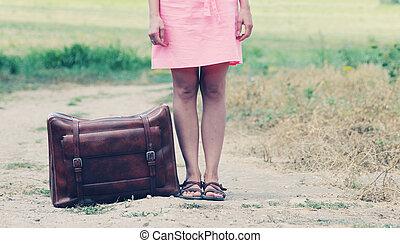 kvinna, med, resväska
