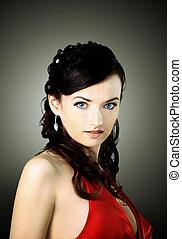 kvinna, med, skönhet, brunt hår länge