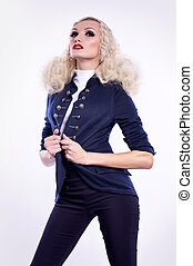 kvinna, med, smink, in, mode