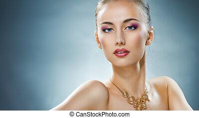 kvinna, med, smycken