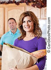 kvinna, med, specerier