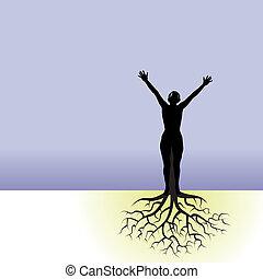 kvinna, med, träd, rötter