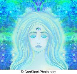 kvinna, med, tredje öga, psykiskt, övernaturligt, sans