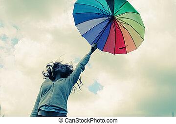 kvinna, med, umbrella., foto, in, gammal, färg avbild,...