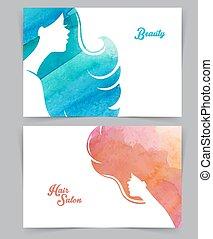kvinna, med, vattenfärg, hår