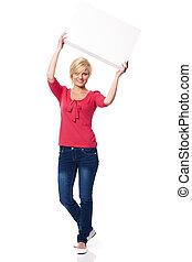 kvinna, med, vita planka, ovanför, henne, huvud